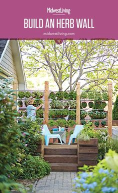 Create a tasteful (and tasty!) privacy screen along a sunny deck or patio with a wall of potted herbs.  Here's how.