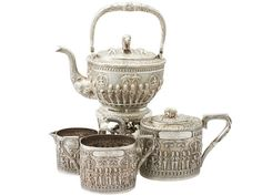 Antique Indian Sterling Silver Four Piece Tea Service (India)