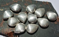 10Pcs Silver Brushed Pear Shape Beads High Quality Silver