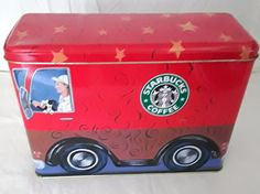 Starbucks Around The World Bus Coffee Java Tea Tin Storage Container Red VGC