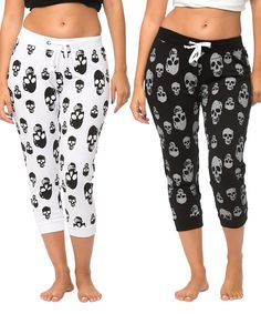 Take a look at this Black & White Skull Capri Joggers Set today!