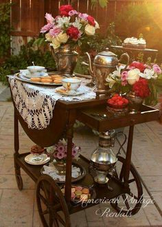 "My mother has a teacart like this from when we were children. I used it in my tearoom many years later and now one of 5 girls will inherit it one day. Imagine when people would actually wheel this out into the room for afternoon tea! From American Vintage Rentals Shared from~""England in a Cup""~ www.etsy.com/shop/englandinacup"