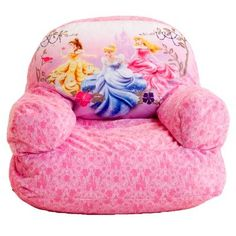 Your little girl will feel like a princess in this velvety, soft pink bean bag chair adorned with images of her favorite princesses. Great for the bedroom or family room. Double-locking zipper keeps fill inside. Polystyrene bean filling. Spot clean.