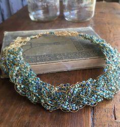 Peacock Blue Necklace Wire Crochet Necklace Blue Necklace