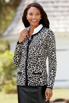 Add some print to your fall wardrobe with this fun cheetah patterned cardigan made of ultra-soft cotton.