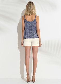 Blusa com Alças Detalhe Decote Azul Lunender - Lunender Feminino 6005ee4eb8160