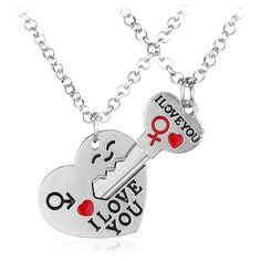 The New Style Can Choose Fashion Jewelry I Love Your Heart Key Necklace Lover Romantic Creative Valentine's Day Gift 1 Pairs