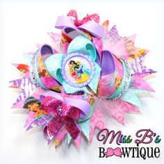 Princess Inspired Hair Bow Over the Top by MissBsBowtique05, $16.99