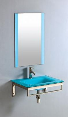 24 Inch Single Wall Mount Vanity with a Blue Tempered Glass Top - Compact for that tight space, yet colorful & stylish