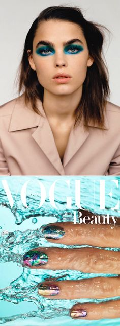 LE FASHION BLOG BEAUTY POST EDITORIAL BAMBI NORTHWOOD BLYTH SELF SERVICE BOLD FULL BROWS  BRIGHT BLUE AQUA EYE SHADOW NUDE PINK JACKET MESSY HAIR VOGUE BEAUTY JAPAN NIPPON METALLIC RAINBOW NAILS ART DESIGN MANICURE WATER