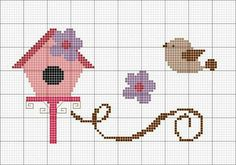 Pin about Kanaviçe, Kanaviçeler ve Kuş on H Cross Stitching, Cross Stitch Embroidery, Embroidery Patterns, Crochet Patterns, Cross Designs, Cross Stitch Designs, Cross Stitch Patterns, Simple Cross Stitch, Cross Stitch Animals