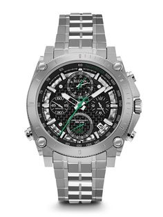 FREE US SHIPPING. Authentic Bulova 96B241 Men's Watch 140th Anniversary Precisionist Chronograph Accutron Green Accents. Authorized Bulova Retailer.