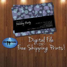 Holiday Party Invite #3 -- Custom Invitations -- Digital File OR Free Shipping Physical Prints by SmoochalDesigns on Etsy