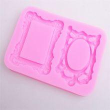 Free Shipping 3D Mirror Frame Silicone Fondant Mold Cake Decorating Mould Baking Chocolate(China (Mainland))