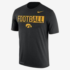 """REPRESENT YOUR TEAM The Nike College Legend """"FootbALL"""" (Iowa) Men's T-Shirt shows team loyalty with a bold print graphic and school colors on soft, sweat-wicking fabric. Benefits Dri-FIT fabric helps keep you dry and comfortable Rib crew neck with interior taping for comfort Product Details Fabric: Dri-FIT 100% polyester Machine wash Imported"""