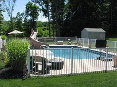 pool fence in white