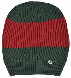 New Gucci Men's 310777 Wool Green Red Interlocking GG Slouchy Beanie Ski Hat