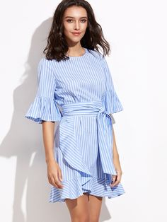 Shop Blue Vertical Striped Belted Ruffle Dress online. SheIn offers Blue Vertical Striped Belted Ruffle Dress & more to fit your fashionable needs.