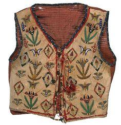 Isanti (Santee Dakota, Minnesota), Man's Vest, beads/silk/porcupine quills/deer hair/tin cones/leather, c. 1890.