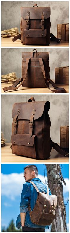 Vintage Genuine Leather School Backpack Casual Rucksack Travel Backpack Laptop Bag 9452 -------------------------------- Overview: Design: Vintage Genuine Leather Backpack In Stock: 3-5 Business Days