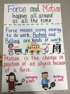 Force and motion anchor chart fourth grade science, elementary science, primary science, kinder Fourth Grade Science, Primary Science, Kindergarten Science, Elementary Science, Physical Science, Science Classroom, Teaching Science, Science Activities, Science Ideas