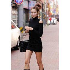 Sexy High Neck Shoulder Hollow Slim Fit Long Sleeve Black Color Stretch Cotton Women's Dress, BLACK, M in Bodycon Dresses | DressLily.com