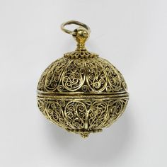 Pomander, silver-gilt filigree, possibly western Europe, century. Smelling Salts, Neck Chain, Victoria And Albert Museum, Decorative Items, London, Antique Jewelry, Horn, Renaissance, Perfume Bottles