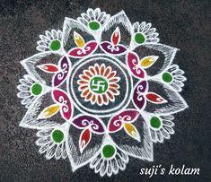 Rangoli Designs Flower, Colorful Rangoli Designs, Rangoli Ideas, Rangoli Designs Diwali, Beautiful Rangoli Designs, Rangoli Colours, Latest Rangoli, New Blouse Designs, Muggulu Design