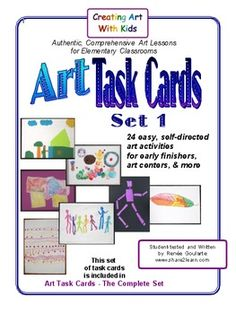 Art Task Cards - SET ONE ~ 24 self-directed elements of art, drawing, and collage activities