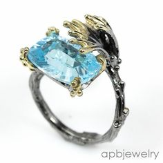 Handmade Jewelry Natural Blue Topaz 925 Sterling Silver Ring Freesize/R31605 #APBJewelry #Ring