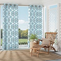 Parasol Cayman Indoor Outdoor Curtain ($66) ❤ liked on Polyvore featuring home, home decor, window treatments, curtains, blue, grommet draperies, grommet panels, blue curtains, geometric pattern curtains and blue grommet panels