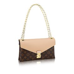 Discover Louis Vuitton Pallas Chain  Upgrade your arm candy. The unique design of Monogram canvas matched with supple calf leather & elegant pleats makes this a versatile day-to-night bag with style. It boasts a golden chain for short-shoulder, long-shoulder and cross-body carry!