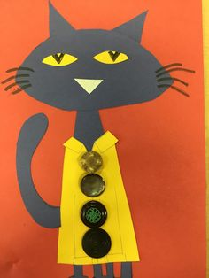 Pete the Cat (book): Students make the cat out of construction paper and marker.  Teacher hot glues buttons on the shirt.