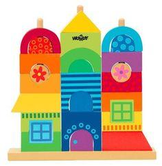 3+ Postav si dům z veselých barevných kostek, tak aby všechny kostky tvořily celek. Vhodné k procvičování motoriky a logiky.