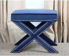 Transitional Ottoman Bench Navy Blue Nailhead Trim Upholstered Fabric Furniture #ABBYSONLIVING #Transitional #Ottoman #Bench #Furniture #Home