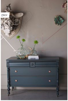 From the amazing Barb Blair. Her piece named Bernicia. Navy Dresser, Dresser As Nightstand, Dresser Ideas, Diy Dresser Makeover, Furniture Makeover, Refurbished Dressers, Painted Dressers, Painted Night Stands, Paint Furniture