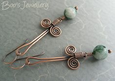 Antiqued copper Egyptian coil earrings with green jade beads - 23445f, via Flickr.