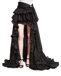 High-Low Ruffled Skirt, Black, Women's, Size: 50 US) - Roberto Cavalli Frilly Skirt, Ruffle Skirt, Ruffle Trim, Steampunk Dress, Steampunk Female, Gypsy Costume, African American Fashion, Hi Low Skirts, Goth Beauty