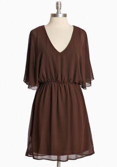 Woodcrest Lane Chiffon Dress in Brown $36.99