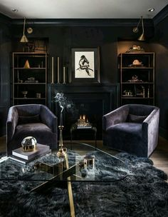 25 Modern Living Room Designs With Black Walls - Home Decor & Design Gothic Living Rooms, Dark Living Rooms, Small Living, Home Office Design, Home Interior Design, House Design, Classic Interior, Luxury Interior, Black Rooms
