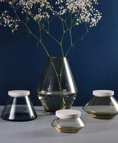 """Vilje"" series of mouthblown glass made at Hadeland Glassverk with porcelain lids from Porsgrunds Porselænsfabrik. Design: Nora O. Krogh."