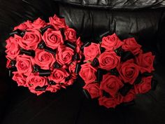 Red rose black ribbon and skull wedding bouquet. by moonmaisie, $75.00