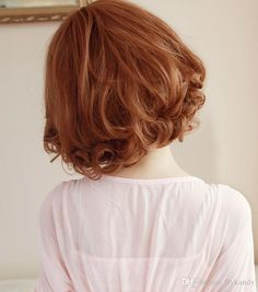 Sweet Cute Pear Flower Formative Short Curly Fluffy Synthetic Hair Wig with Neat Bangs,Latest Korean Fashional Honey Brown Female Peluca Wig Cute Braided Hairstyles, Cute Hairstyles For Short Hair, Wig Hairstyles, Trendy Hairstyles, Curly Hair Styles, Short Hair Styles Easy, Natural Hair Styles, Hair Inspo, Hair Inspiration