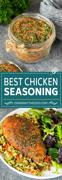 This chicken seasoning is the perfect blend of herbs and spices that produces flavorful and juicy chicken each and every time. A pantry staple that takes just minutes to put together and can also be used to season other types of meat, vegetables and potatoes. Supper Recipes, Lunch Recipes, Simple Chicken Brine, Best Chicken Seasoning, Homemade Seasonings, Homemade Spices, Easy Delicious Recipes, Easy Recipes, Stuffed Whole Chicken