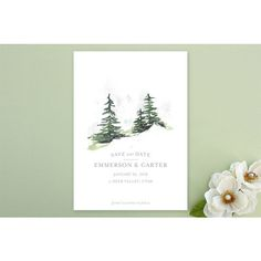 Evergreen Pine Trees Save the Date: The love between you and your fiancé could move mountains. This snowy slope save the date is the perfect way to symbolize your soon-to-be marriage. ($1.63; minted.com) | Stunning Winter Wedding Save the Date Ideas