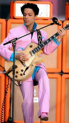 No Prince suit would be complete without matching heeled boots. Here, a dusty pink pair he wore when he performed on Good Morning America in