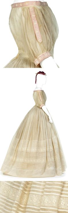 Dress, ca. 1865-early 1870s. Two bodices, skirt, & petticoat, with skirt bag, hat, & sash. White cotton slinong (?); different pieces have Valenciennes lace, satin ribbon, machine embroidery & porcelain buttons. Evening bodice shown here; buttons in back. Petticoat of off-white cotton batiste. Hallwyl Museum via Wikimedia Commons