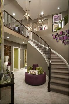 Living Room Design Under Stairs Decorate the space under your staircase in a contemporary style. Instead of devoting an entire room to the laundry why not just put it under the stair. Curved Staircase, Staircase Design, Stair Railing, Railings, House Goals, My Dream Home, Dream Homes, Stairways, Home Fashion