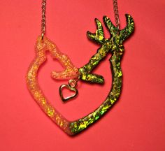 Double Deer Heart Necklace by bojosmom on Etsy, $35.00