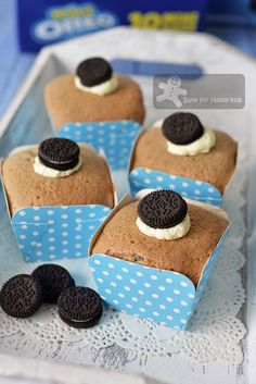 Bake for Happy Kids: Cookies and Cream Oreo Chiffon Cupcakes - So Light and Yummy!